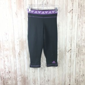 adidas Pants - Adidas Black Purple Skinny Crop Workout Leggings